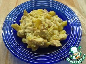 Рецепт Картофель с курицей, тушеные в молоке