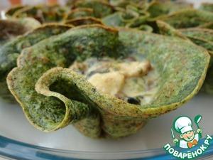 Рецепт Куриное филе с грибами и соусом бешамель в стаканчиках из шпината