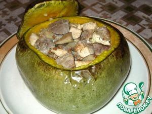 Рецепт Мясо с грибами в тыквенном горшочке