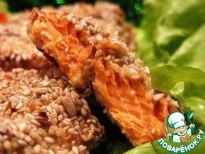Рецепт Маринованная семга, запеченная в кунжуте