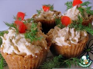 Рецепт Закусочные тарталетки с сeмгой и сыром