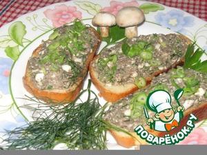 Рецепт Грибная икра с зеленым луком