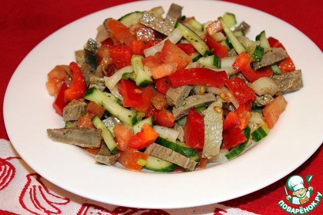 Салаты с помидорами и огурцами и мясом рецепты с