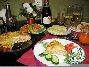 """Рецепт Закусочный пирог из грибов, фасоли и сыра """"Счастливый вечер"""""""