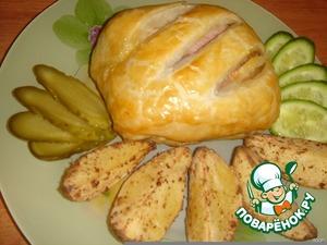 Рецепт Куриные грудки с ветчиной в слоеном тесте