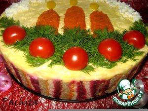 """Рецепт Закусочный торт """"Пламя свечи"""""""