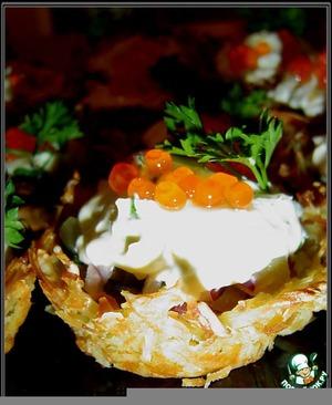 Рецепт Картофельные корзиночки с  рыбно - икорной начинкой