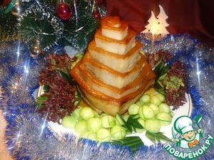 Рецепт Пирамида из свиной грудинки с рисом и овощами