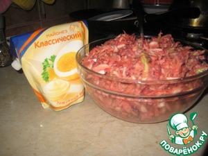 Salad of cabbage and meat,
