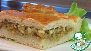 Рецепт Пирог печеный из дрожжевого теста с начинкой из рыбы