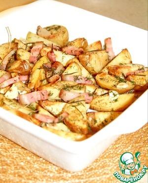 Рецепт Золотистый запеченый картофель с розмарином, чесноком, имбирем и сыровяленым мясом