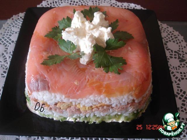 Салат рыбка с семгой