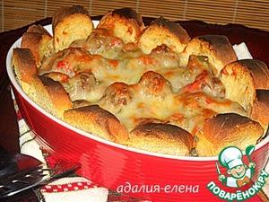 Рецепт Запеканка с хлебом и фрикадельками