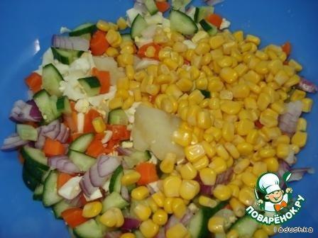 Салат сборный «Веселый» домашний рецепт приготовления с фотографиями пошагово как приготовить #4