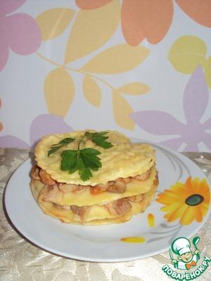 Рецепт Мини-лазанья с рыбным филе и грибами