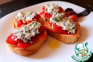 Рецепт Брускетта с творожным сыром и томатами