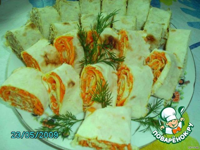 Вкусные закуски с фото из лаваша