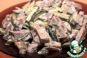 Рецепт Мясной салат со свежим огурцом и чесноком