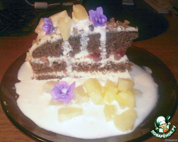 торт со сливочным кремом и фруктами рецепт с фото