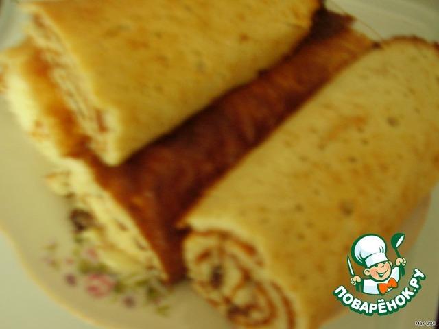 рулет бисквитный с орехами рецепт с фото