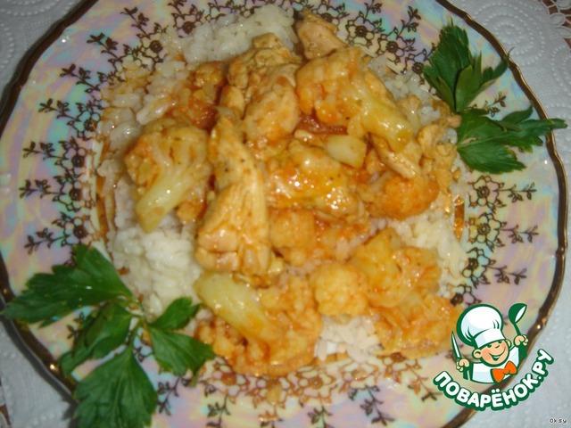 Рецепт курицы с цветной капустой в духовке пошаговый рецепт с