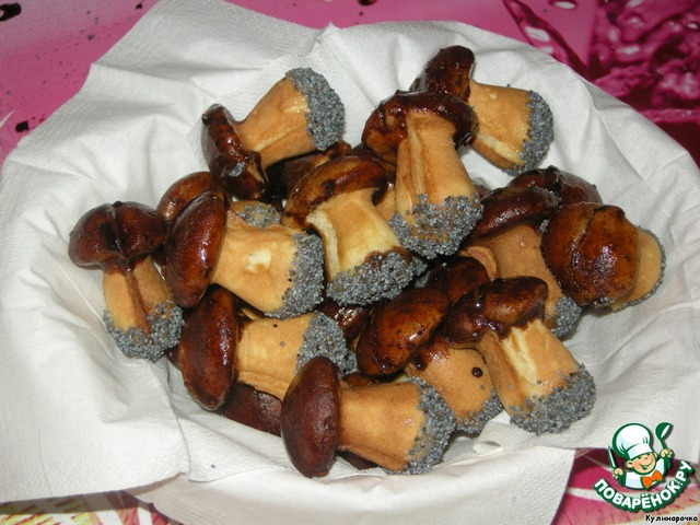 Печенье грибочки на сковороде рецепт