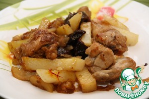 Рецепт Цыплята-корнишоны с картофелем и черносливом