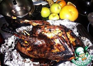 Рецепт Индейка с сосисками и грудинкой