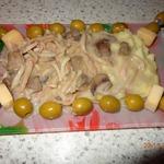 Кальмары в сливочном соусе с грибами