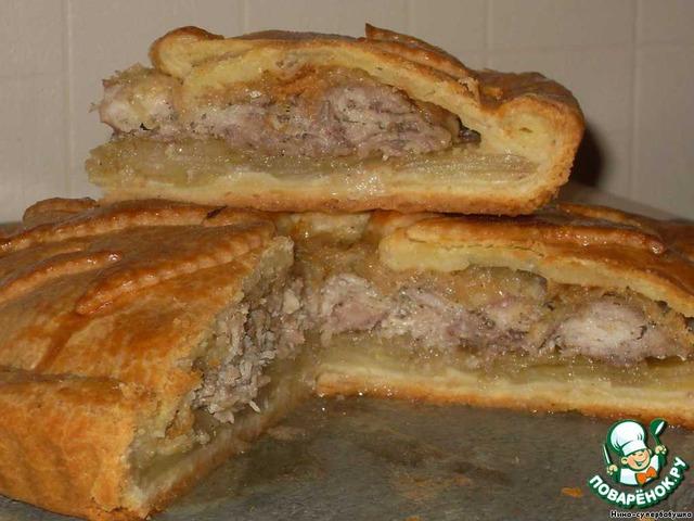 пирог из картошки и мяса курицы