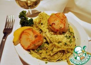 Рецепт Морские гребешки c Пастой под соусом из базилика
