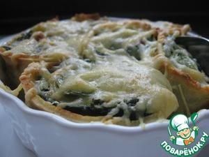 Рецепт Блинчики-рулетики со шпинатом, запеченные в духовке