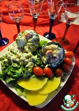 Рецепт Салат с креветками, авокадо, манго и помидорами