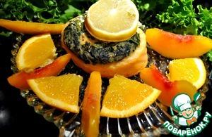 Рецепт Запеченный рулет из семги и сыра фета с зеленью