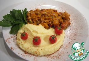 Рецепт Сосиски с фасолью и овощами c картофельным пюре
