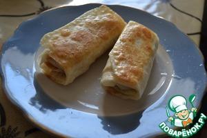 Рецепт Трубочки из лаваша, начиненные грибами и мясом