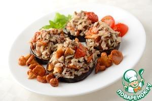 Рецепт Жареные баклажаны с рисом, лисичками и помидорами