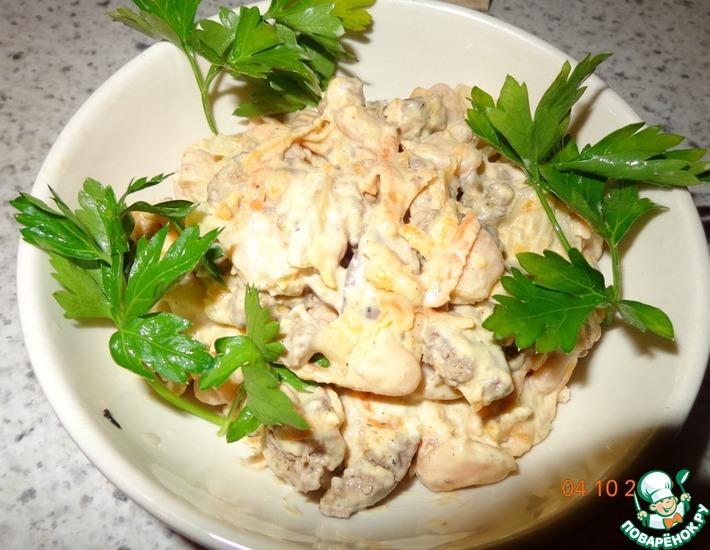 Рецепт: Салат из печени с фасолью