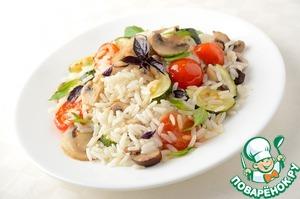 Рецепт Горячий салат из риса с овощами