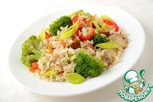 Рецепт Жареный рис с овощами и грибами
