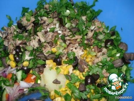 Салат сборный «Веселый» домашний рецепт приготовления с фотографиями пошагово как приготовить #5