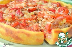 Рецепт Деревенский пирог из картофельного теста с мясом и овощами