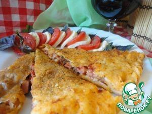 """Рецепт Кальцоне """"Три сыра с ветчиной и вялеными помидорами"""""""