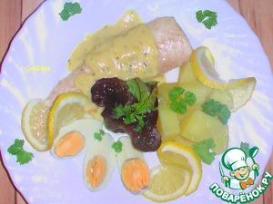 Рецепт Картошка с горчичным соусом, филе пеленгас и яичными лодочками
