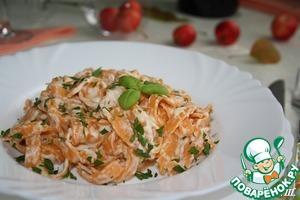 Рецепт Томатные феттучине в сливочно- сырном соусе.