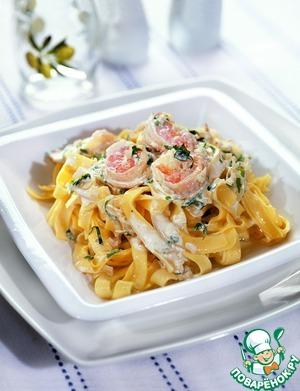 Рецепт Тальятелле с креветками в сливочном соусе
