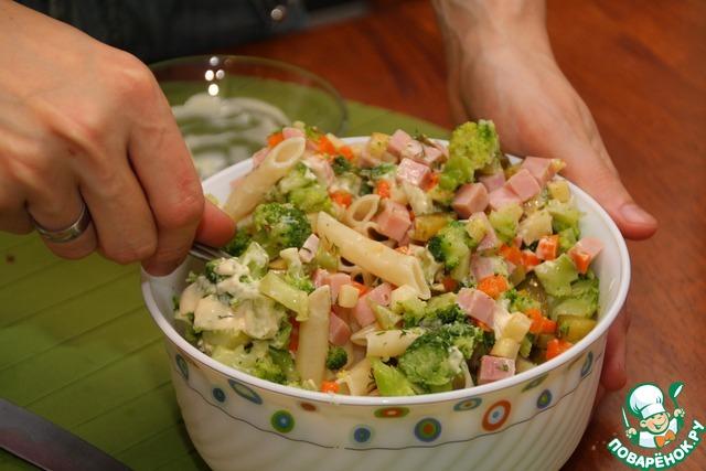 рецепт салата с макаронами и колбасой