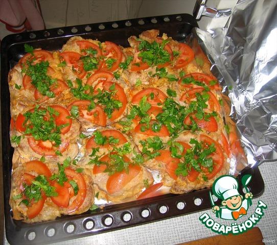 Готовим Свинина, запеченная с помидорами и сыром простой рецепт приготовления с фото #5