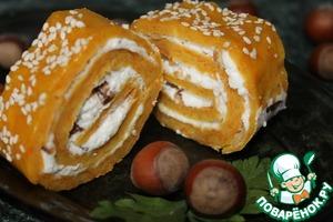 Рецепт Тыквенно-творожно-ореховый рулетик