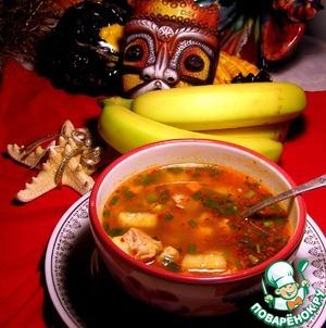 Рецепт Кубинский суп с рисом, курицей и бананом